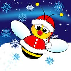 Graphic of bee in winter