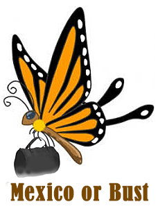 Graphic of migrating monarch butterfly