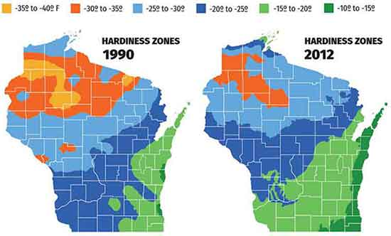 Graphic showing changes in Wisconsin hardiness zones from 1990